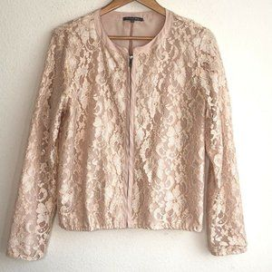 Michael Stars Lace Overlay Full Zip Top Pink Large
